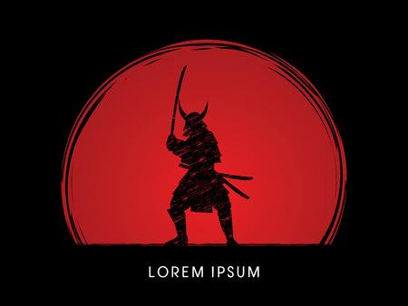 Samurai Warrior with sword, designed using grunge brush on sunset or sunrise background graphic vector.