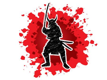 ready logos: Samurai Warrior with sword, designed using grunge brush on splash blood background graphic vector.
