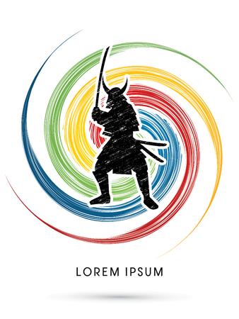 samurai warrior: Samurai Warrior with sword, designed using grunge brush on colorful spin circle background graphic vector. Illustration
