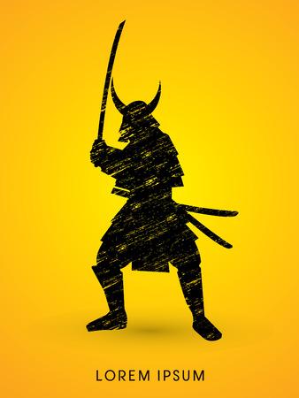 Samurai Warrior with sword, designed using grunge brush graphic vector.