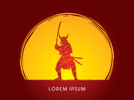 luz de luna: Samurai con la espada Warr, diseñado usando cepillo del grunge luz de la luna en el fondo del gráfico de vector. Vectores