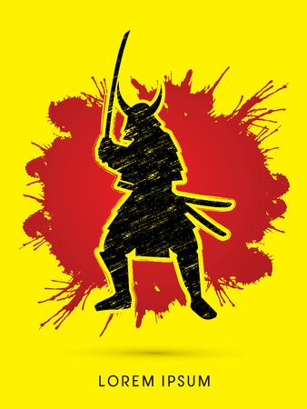 samurai warrior: Samurai Warrior with sword, designed using grunge brush on splash blood background graphic vector.