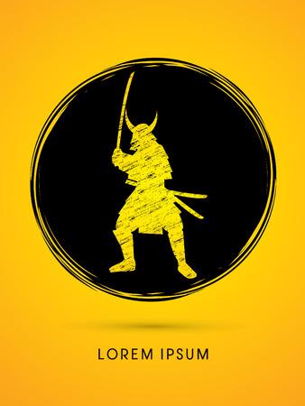 ready logos: Samurai Warrior with sword, designed using grunge brush on circle background graphic vector.