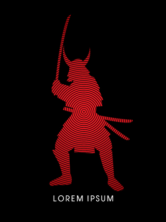sword fight: Samurai Warrior with sword, designed using red cycle line graphic vector.