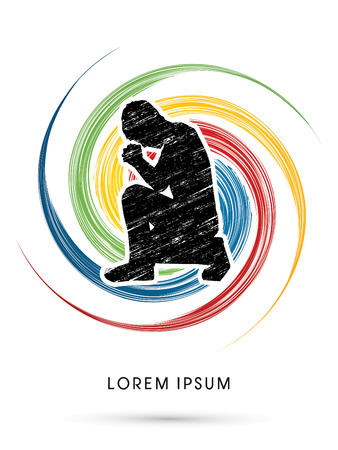 Kneeling Man Praying, designed on colorful spin background graphic vector.