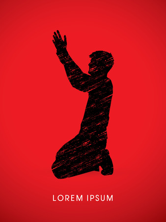 kneeling: Kneeling Man Praying, designed on splash grunge brush background graphic vector.