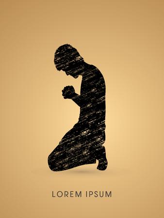 praise and worship: Kneeling Man Praying, designed on splash grunge brush background graphic vector.