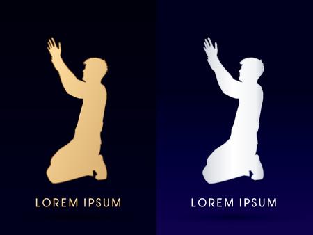 Kneeling Man Praying, designed using gold color graphic vector.