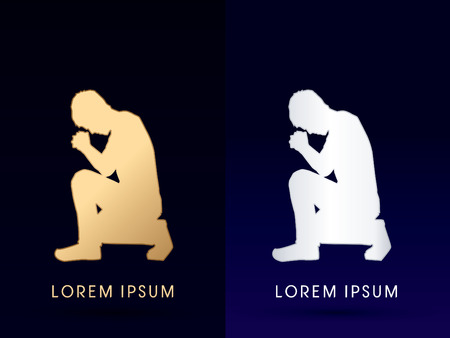 kneeling: Kneeling Man Praying, designed using gold color graphic vector.