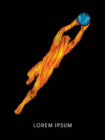 shop keeper: Goalkeeper jumping, catches the ball designed using line fire graphic vector.