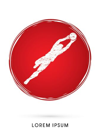 shop keeper: Goalkeeper jumping, catches the ball designed using on grunge circle graphic vector.