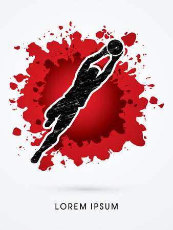 shop keeper: Goalkeeper jumping, catches the ball designed using grunge brush on splash blood background graphic vector. Illustration