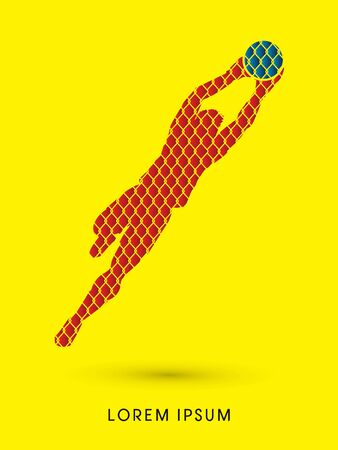 shop keeper: Goalkeeper jumping, catches the ball designed using net pattern graphic vector.
