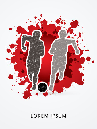 poach: Soccer players, Running with ball designed using grunge brush on splash blood background graphic vector