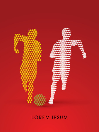 poach: Soccer players, Running with ball designed using line triangle pattern graphic vector