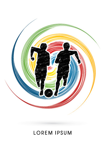 poach: Soccer players, Running with ball designed using grunge brush on colorful grung circle background  graphic vector Illustration
