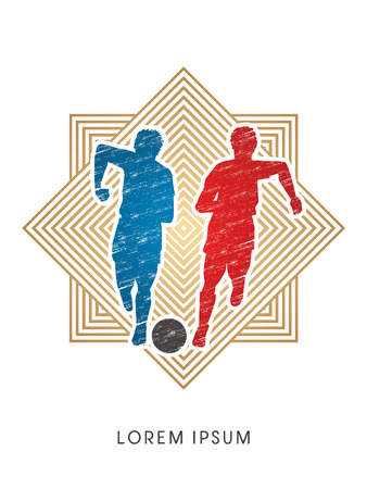 Soccer players, Running with ball designed using grunge brush on line square background  graphic vector