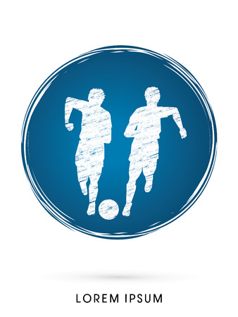 poach: Soccer players, Running with ball designed using grunge brush on grung circle background graphic vector