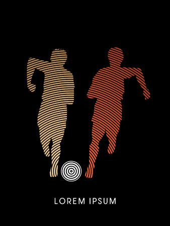 Soccer players, Running with ball designed using line cycle graphic vector