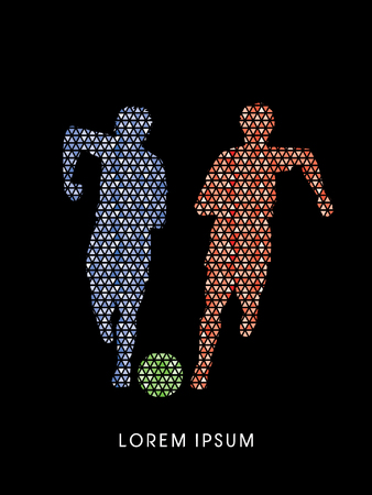 Soccer players, Running with ball designed using red and blue mosaic graphic vector