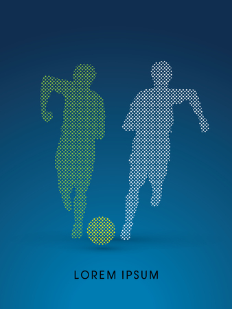 poach: Soccer players, Running with ball designed using dot and square graphic vector