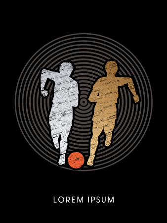 poach: Soccer players, Running with ball designed using grunge brush on circle line background graphic vector Illustration
