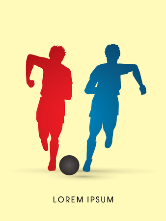 Soccer players, Running with ball, silhouette graphic vector