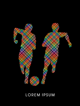 poach: Soccer players, Running with ball designed using line colorful pixels brush graphic vector.