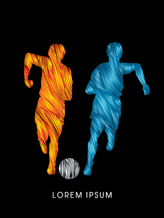 Soccer players, Running with ball designed using line fire brush graphic vector Illustration