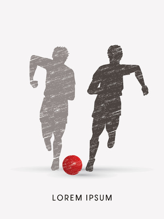 poach: Soccer players, Running with ball designed using grunge brush graphic vector Illustration