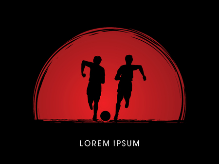 poach: Soccer players, Running with ball designed on sunset or sunrise background graphic vector
