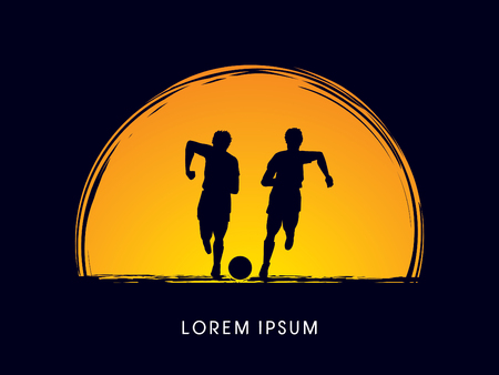 poach: Soccer players, Running with ball designed on moonlight background graphic vector Illustration