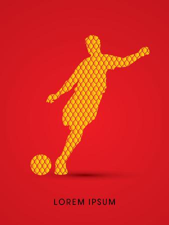 soccer net: Soccer, football, player silhouette, designed using line net pattern graphic vector. Illustration