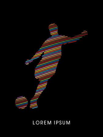 silueta humana: Fútbol, ??silueta de jugador, diseñado con el arco iris línea de gráficos vectoriales.