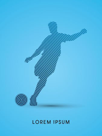 soccer club: Soccer, football, player silhouette, designed using line circle graphic vector.