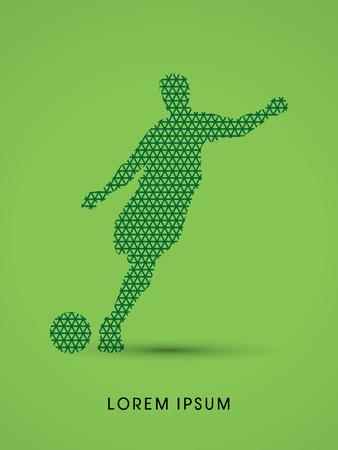 team sports: Fútbol, ??silueta de jugador, diseñado usando la línea de patrón geométrico gráfico vectorial.