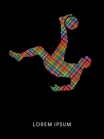 somersault: Soccer player hit the ball, Bicycle Kick designed using line colorful pixels graphic vector. Illustration