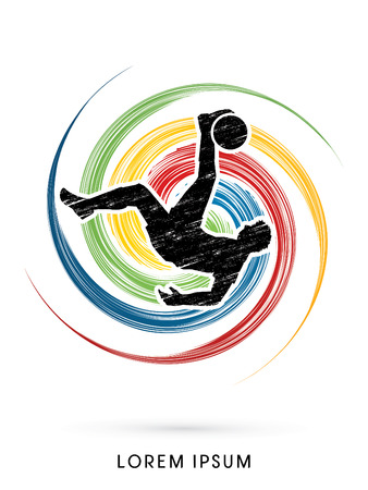 Soccer player hit the ball, Bicycle Kick designed using grunge on colorful spin circle background graphic vector.