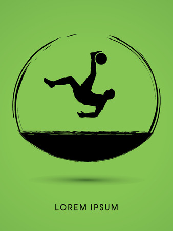 somersault: Soccer player hit the ball, Bicycle Kick designed using grunge brush graphic vector.