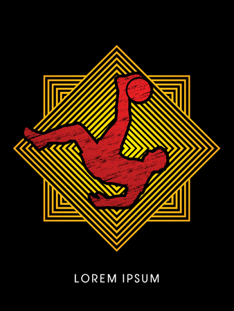 somersault: Soccer player hit the ball, Bicycle Kick designed using grunge brush on line square background graphic vector.