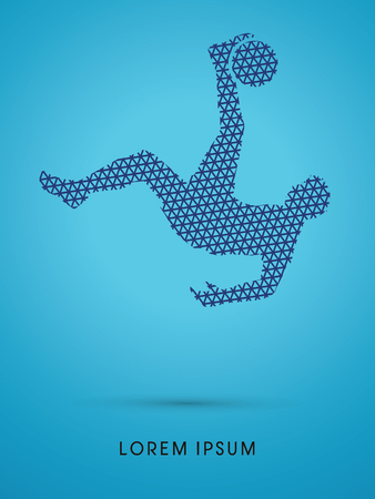 somersault: Soccer player hit the ball, Bicycle Kick designed using line triangle pattern graphic vector.