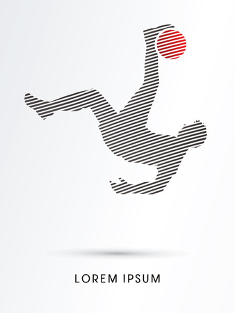 somersault: Soccer player hit the ball, Bicycle Kick designed using line graphic vector. Illustration