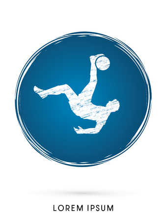 somersault: Soccer player hit the ball, Bicycle Kick designed on grunge circle background graphic vector. Illustration