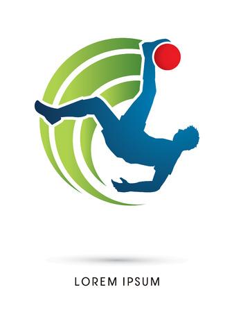campeonato de futbol: Jugador de fútbol que golpea la pelota, retroceso de bicicleta de gráficos vectoriales.