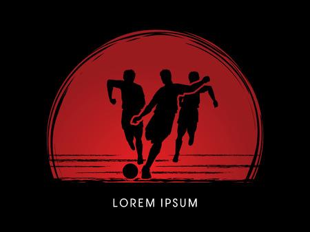 Soccer players, Running designed on sunset or sunrise background graphic vector Illustration