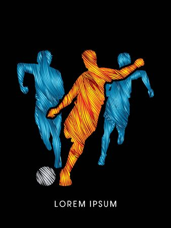 poach: Soccer players, Running designed using line fire brush graphic vector