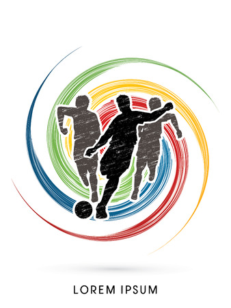 poach: Soccer players, Running designed using grunge brush on spin circle graphic vector.