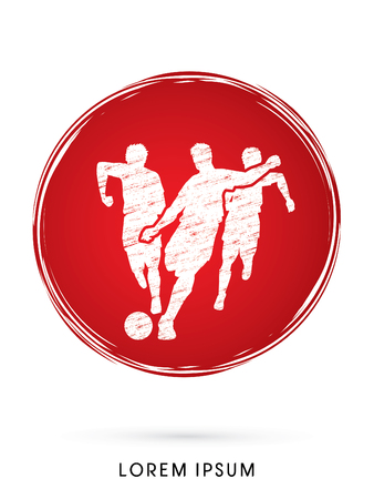 poach: Soccer players, Running designed on grunge circle line graphic vector Illustration