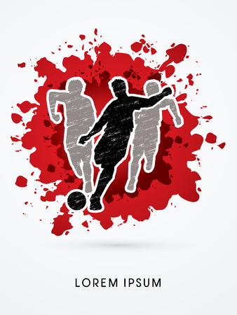 poach: Soccer players, Running designed using grunge brush on splash blood background graphic vector Illustration