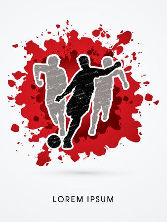 Soccer players, Running designed using grunge brush on splash blood background graphic vector Illustration